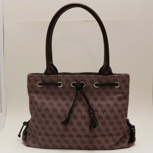 Dooney & Burke Plum Signature Tassel Fabric Tote